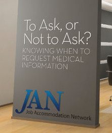 Image on wall in an office setting: To ask? or not to ask. Knowing when to request medical information - Job Accommodation Network