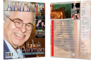 Image of ABILITY Magazine Cover with Itzhak Perlman Smiling