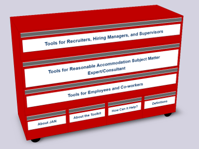 Image of a red Mechanic's Toolbox with white labels