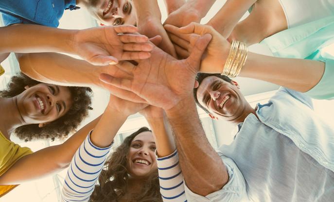 Teamwork hands in center