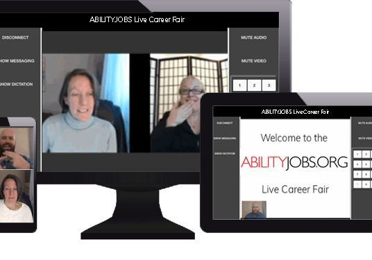 Different size screens showing ABILITYJOBS.ORG Career Fair in action